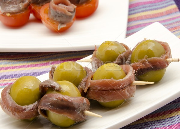 Zeytin salata sebze yemek diyet İspanya Stok fotoğraf © dulsita