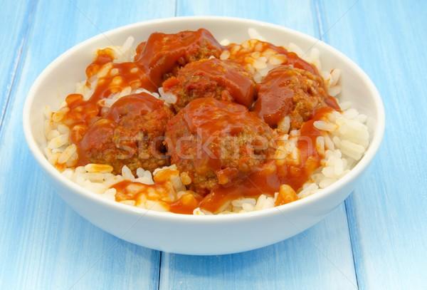 Almôndegas arroz molho de tomate casa jantar carne Foto stock © dulsita