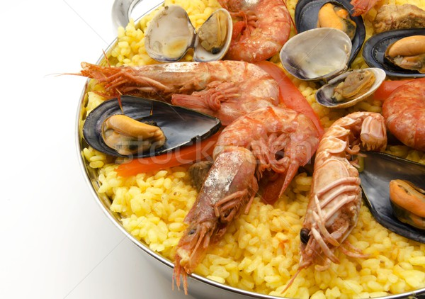 Deniz ürünleri mutfak pirinç yemek diyet karides Stok fotoğraf © dulsita