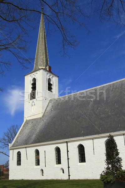 Small white village church Stock photo © duoduo