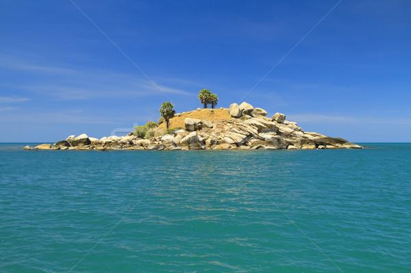 Dry uninhabited island and blue sky Stock photo © duoduo