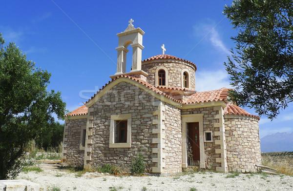 Grieks kapel blauwe hemel klein zomer Blauw Stockfoto © duoduo