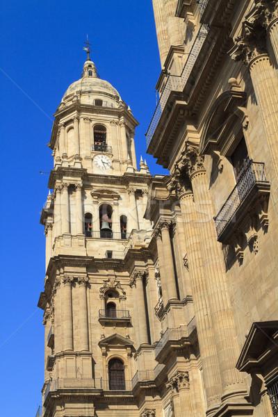 Malaga katedral derin mavi gökyüzü ayrıntılı görüntü Stok fotoğraf © duoduo