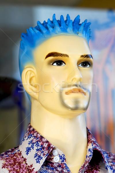 Mannelijke etalagepop Blauw haren jonge mode Stockfoto © duoduo