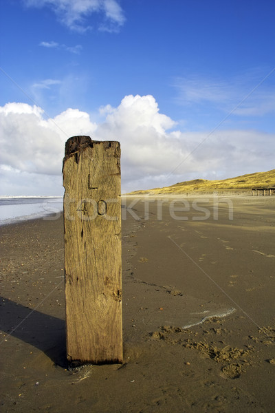 Stock photo: Wooden pole on the beach