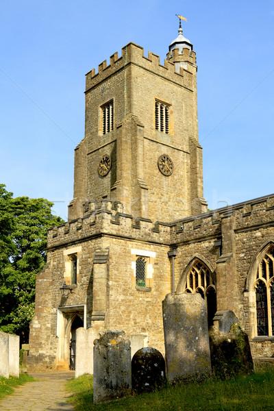 Tipik İngilizce köy kilise aziz mimari Stok fotoğraf © duoduo