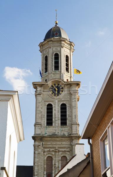 Aziz kilise Belçika gökyüzü doku saat Stok fotoğraf © duoduo