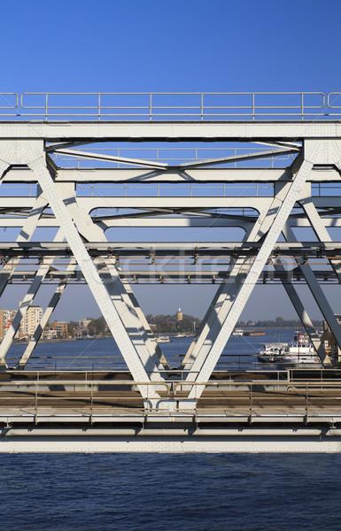 Görmek demiryolu köprü nehir gökyüzü inşaat Stok fotoğraf © duoduo