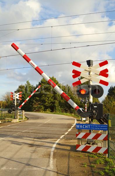 Stockfoto: Spoorweg · weg · nederlands · platteland · hemel · straat