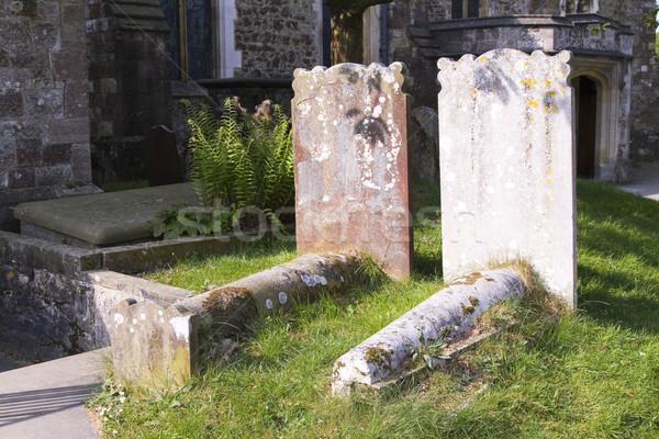 Ensoleillée pays cimetière église herbe lumière Photo stock © duoduo