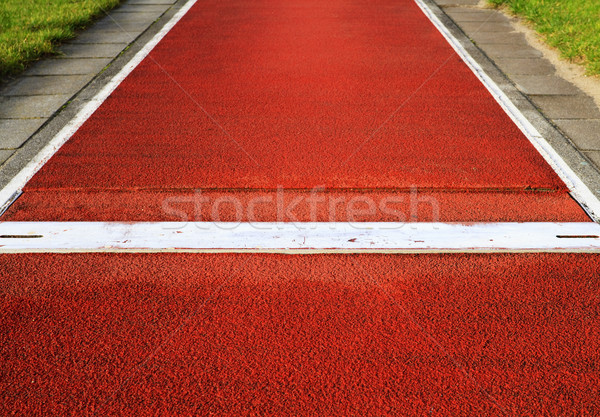 Stock photo: Long jump spring plank in an outdoor stadium