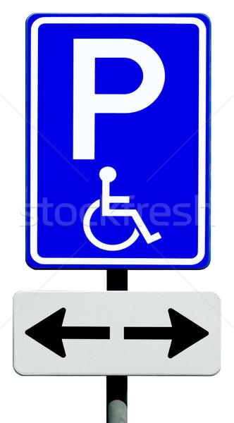Parkeren teken gehandicapten mensen Blauw gehandicapten Stockfoto © duoduo