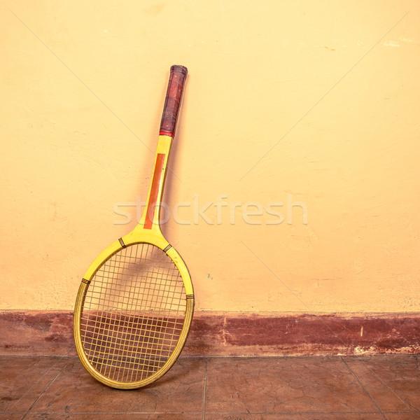 ヴィンテージ テニスラケット 壁 フィットネス フレーム レトロな ストックフォト © dutourdumonde