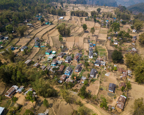 Aerial view of village in Nepal Stock photo © dutourdumonde