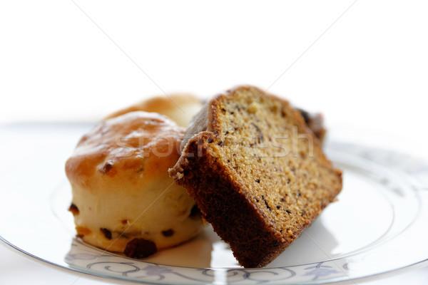 Fatia bolo britânico chá da tarde fruto prato Foto stock © dutourdumonde