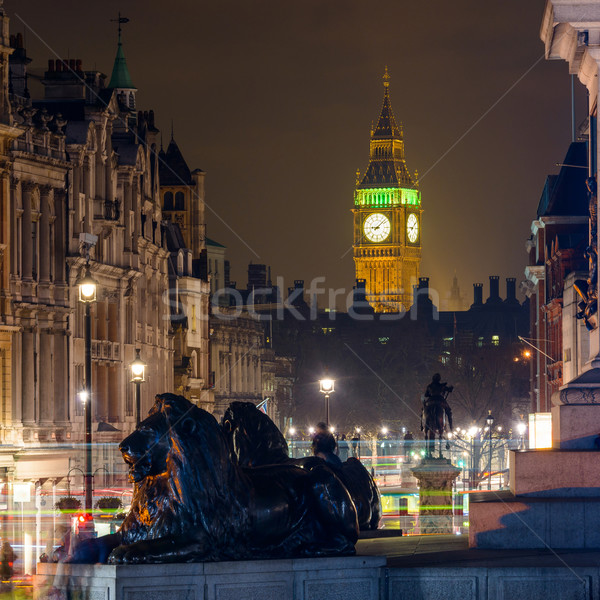 The Clock Tower seen from Trafalgar Square at night Stock photo © dutourdumonde