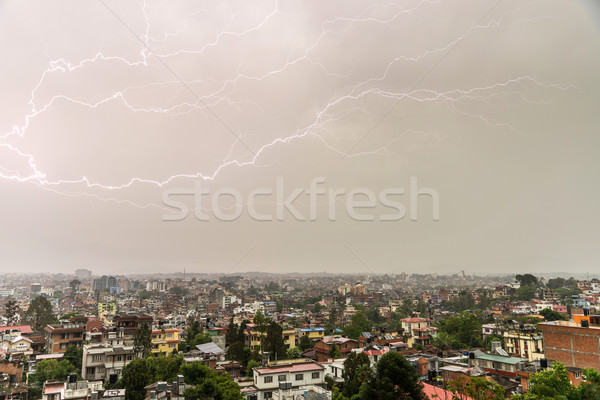 Lightning bolt over Patan and Kathmandu Stock photo © dutourdumonde
