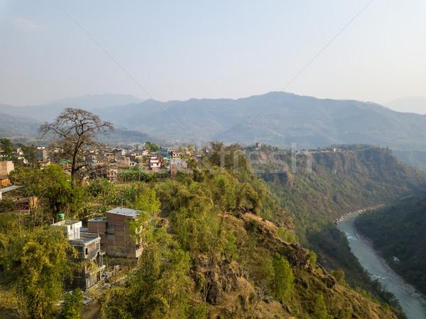 Nepal río paisaje montana verde Foto stock © dutourdumonde