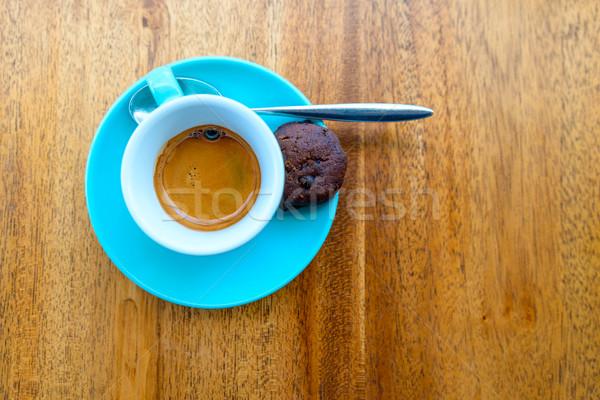 Espresso turquoise tasse table en bois bois café Photo stock © dutourdumonde