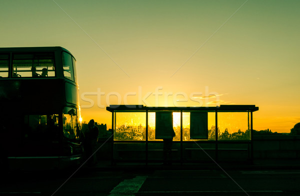 Bushalte zonsondergang Londen zonsopgang zwarte vervoer Stockfoto © dutourdumonde