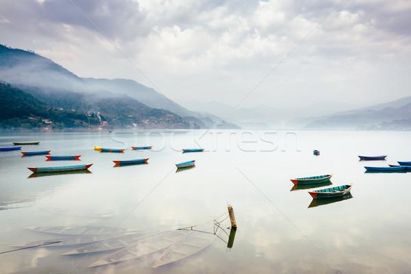 Stock photo: Phewa lake in Pokhara, Nepal