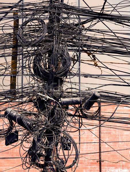 Electric wires on a post Stock photo © dutourdumonde