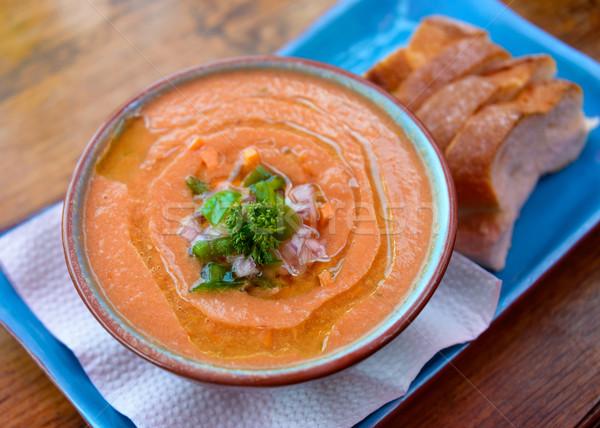 Bowl of gazpacho Stock photo © dutourdumonde