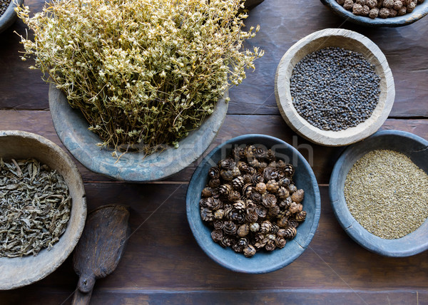 Herbs and spices in bowls Stock photo © dutourdumonde