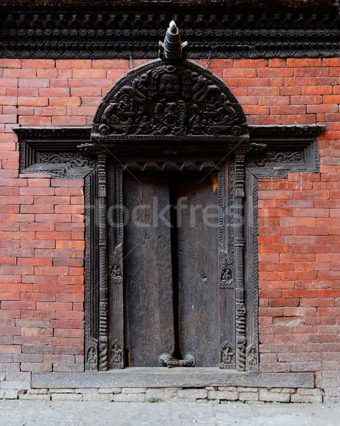 Traditional door in Kathmandu Stock photo © dutourdumonde