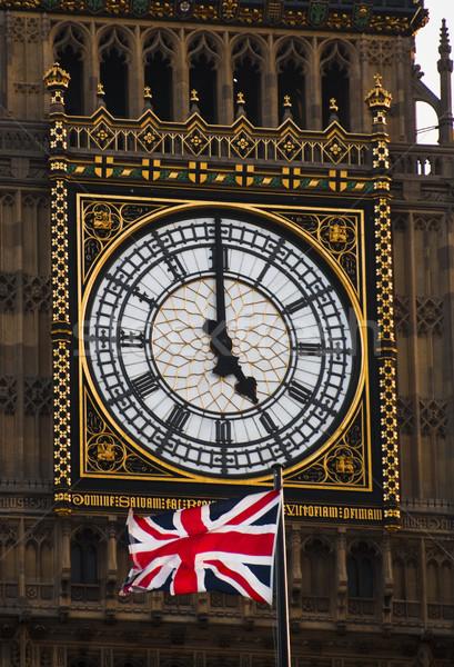 часы башни британский флаг Лондон город путешествия Сток-фото © dutourdumonde