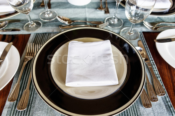 Neat dining table setting in front of plate Stock photo © dutourdumonde