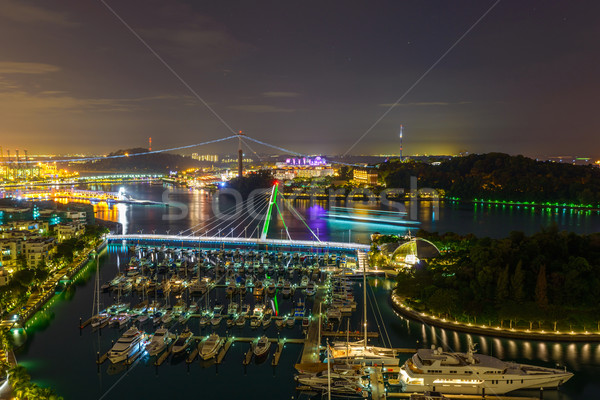 シンガポール マリーナ 1泊 表示 島 水 ストックフォト © dutourdumonde