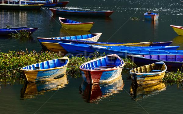 красочный Непал озеро воды древесины пейзаж Сток-фото © dutourdumonde