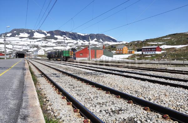 Estação de trem neve montanha verão retro transporte Foto stock © dutourdumonde