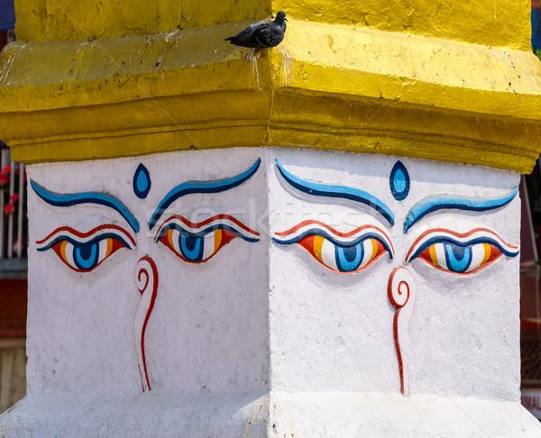 Ogen asia buddha meditatie Nepal kleurrijk Stockfoto © dutourdumonde
