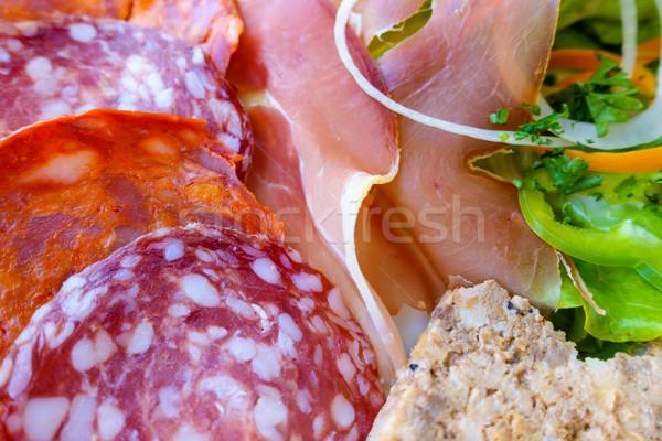 Charcuterie and salad plate Stock photo © dutourdumonde