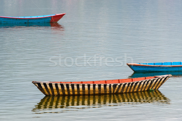 Small boat on Fewa Lake, Nepal Stock photo © dutourdumonde