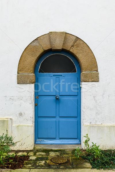 Oude Blauw deur houten huis textuur Stockfoto © dutourdumonde