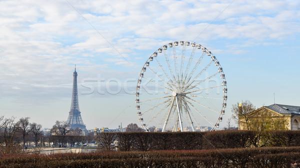 Эйфелева башня Париж Франция дерево город Сток-фото © dutourdumonde