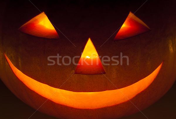 Halloween Laterne Nacht Essen Lächeln Stock foto © dutourdumonde