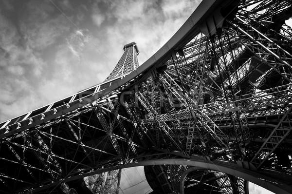 Eyfel Kulesi Paris siyah beyaz Bina şehir inşaat Stok fotoğraf © dutourdumonde