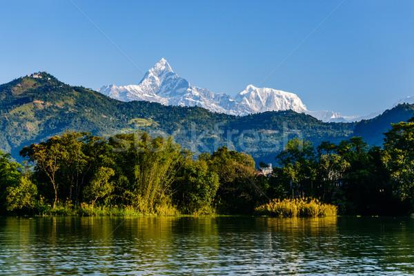 The Machapuchare and Annapurna III seen Pokhara, Nepal Stock photo © dutourdumonde
