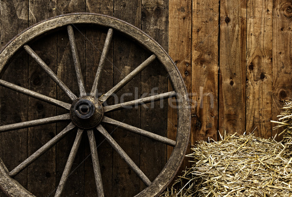 Klasszikus fából készült fuvar kerék szalmaszál fa Stock fotó © dutourdumonde