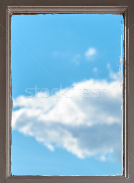 View of a blue sky with fluffy white clouds Stock photo © dutourdumonde