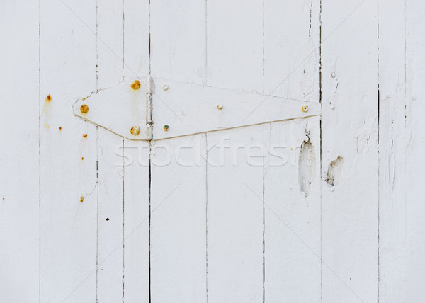 Beyaz ahşap kapı menteşe paslı ahşap Stok fotoğraf © dutourdumonde
