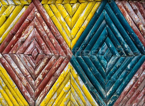 Bamboe hek textuur kleurrijk achtergrond Blauw Stockfoto © dutourdumonde