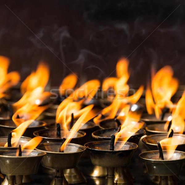 Stock fotó: Vaj · lámpák · buddhista · kolostor · fém · gyertya