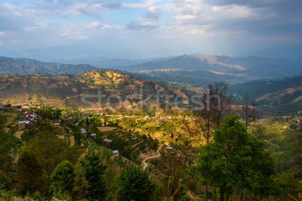 Manzara vadi Nepal bölge dağ tarım Stok fotoğraf © dutourdumonde