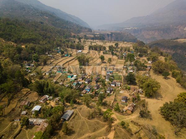 Luchtfoto dorp Nepal home berg reizen Stockfoto © dutourdumonde