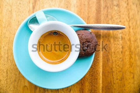 An espresso served in a turquoise cup Stock photo © dutourdumonde